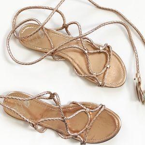 Colin Stuart Rose Gold Braid Tie Up Sandals
